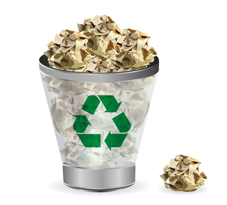 Trashcan papier recycle, illustration