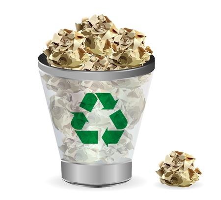 afvalbak: Trashcan papier recycleren, illustratie