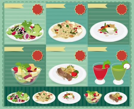 tomato juice: Set of food menu, Salad, Shrimp and spaghetti, Fish steak, Fruit salad, Beefsteak, Juice   retro style template Design