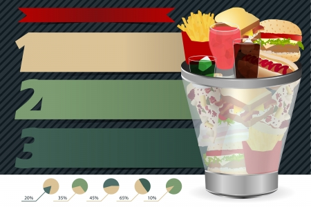 unhealthy food: junk food concept in the Trash, With Modern Design template   info graphics   numbered banners, Colorful presentations with letters numbers,  illustration
