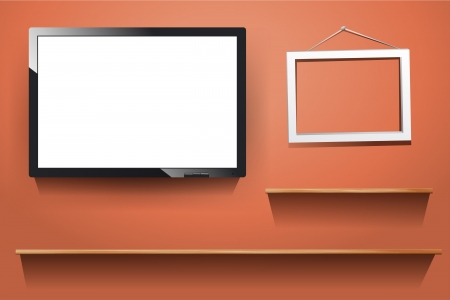 tv on wall, with wood shelf, white photo frame,  illustration Stock Vector - 17934644