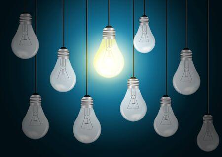 energysaving: idea concept with light bulbs on a blue background, Vector template design