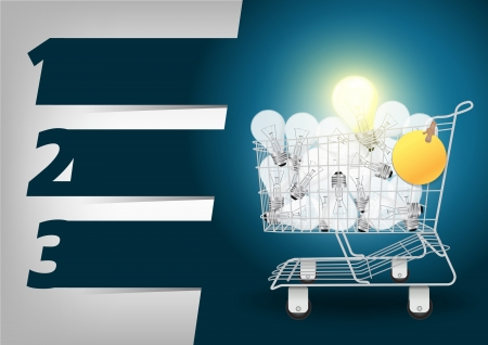 supermarket cart: Creative Template light bulb in the shopping cart, With Modern Design template  infographics  numbered banners, Colorful presentations with letters numbers Vector