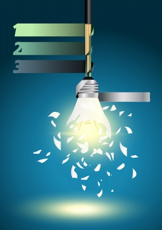 Creative Template with idea bulb explode, With infographics concept vector illustration design  Vector
