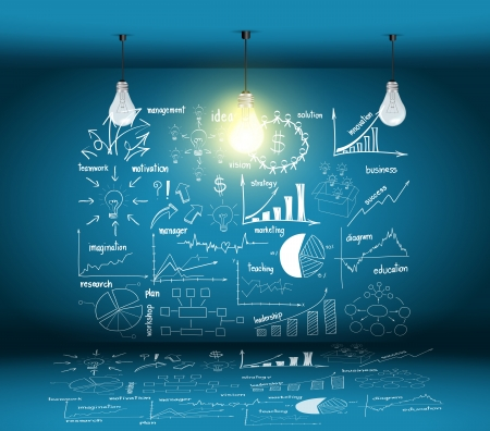 website plan: Creative Drawing Business Concepts with glowing light bulb idea, in the modern room, Vector template design