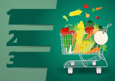 supermarket cart: Shopping cart with fruits and vegetables