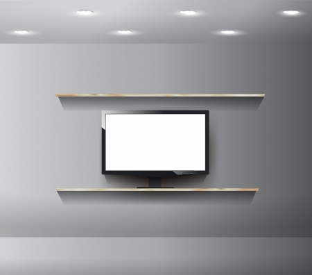 TV on wall in modern room, With wood shelf design Stock Vector - 18026633