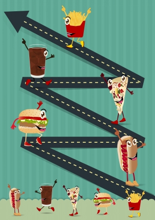 going up: Creative Template with fast food funny cartoon character concept  Road going up as an arrow, vector illustration design