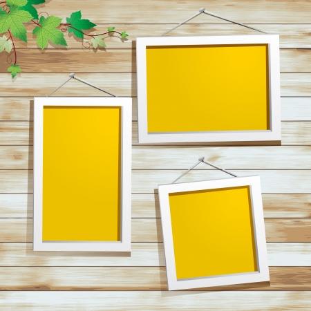 grunge photo frame: Cornice bianca su sfondo di legno, con foglie verdi decorazione, disegno vettoriale Vettoriali