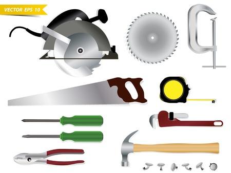 herramientas de carpinteria: Carpinter�a herramientas vector plantilla de dise�o