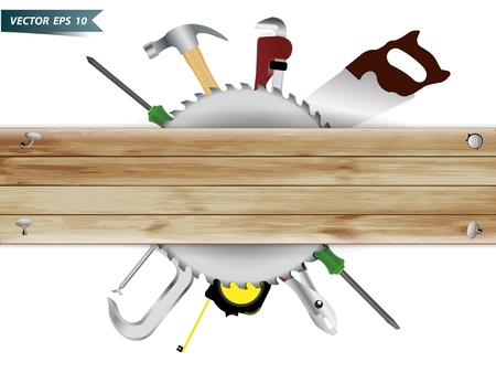 timber cutting: Carpentry, construction hardware tools collage with wood plank texture background, Vector template design