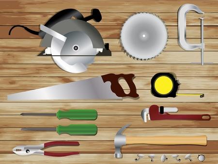 herramientas carpinteria: Herramientas de carpinter�a en el fondo de madera textura, dise�o Vector plantilla