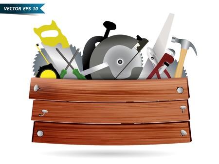herramientas carpinteria: Carpinter�a, herramientas de construcci�n hardware collage con textura de fondo tabl�n de madera, dise�o Vector plantilla Vectores