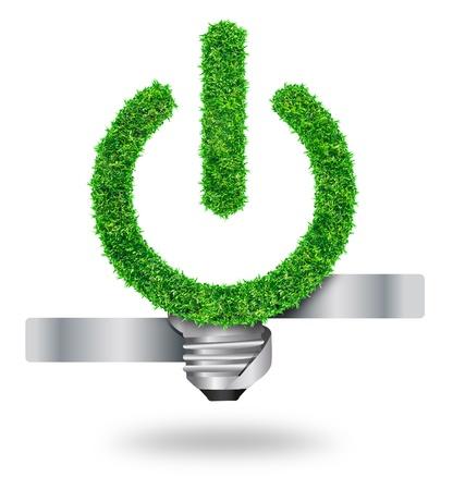 energy saving: bulbo de hierba verde como símbolo de la energía y protección de la naturaleza sostenible, aislado en fondo blanco con Save Caminos para el trabajo de diseño
