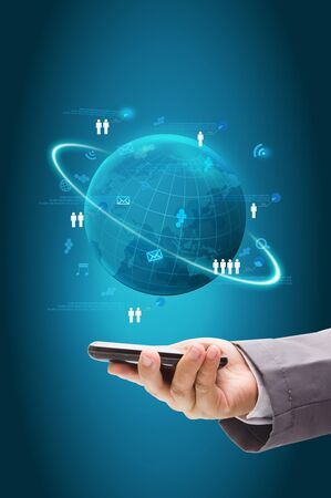 Information technology business concept, Network process diagram on mobile phones Stock Photo - 18236210