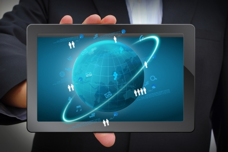 global network business concept, Network process Information technology diagram on computer tablet PC Stock Photo - 18236212