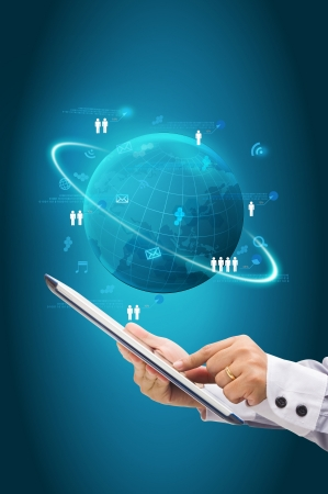 Information technology business concept, Network process diagram on computer tablet PC Stock Photo - 18236209