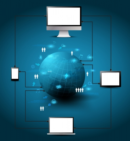 multimedia background: Technology Computer network process diagram, Connection in the global social networks, illustration Modern Design template