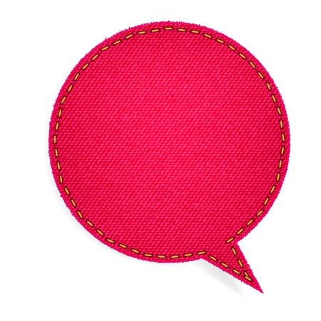 sew tags: Speech bubble of denim fabric red badges, stickers, labels, tags, template design