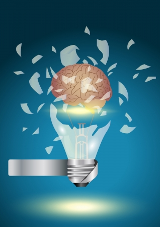 burn out: Creative light bulb explode With brain power concept idea , Vector illustration Modern Design template  Illustration