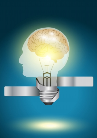 Head shaped light bulb  - Creative concept vector modern template Design Vector