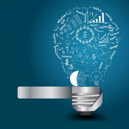 Kreative Glühbirne mit Zeichnen Geschäftsstrategie Raumkonzept Idee, Vektor-Illustration Modernes Template Design