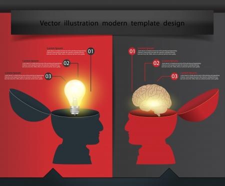 lluvia de ideas: Creativa mano abierta Bombilla con cerebro concepto, dise�o Ilustraci�n vectorial plantilla moderna