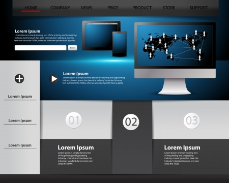 website backgrounds: Modern website template design, infographics and Information technology concept