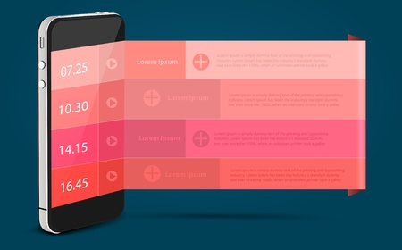 Mobile phone alarm clock concept, With banner modern  Vector