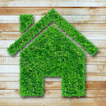 Grass home icon on wooden  Stock Photo - 18508180
