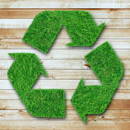 environmental damage: Recycle symbol from grass on wood background