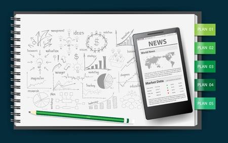 Papel de cuaderno, con dibujo idea de negocio concepto de estrategia plan, plantilla Mobile Phone News en la pantalla, ilustración vectorial Ilustración de vector