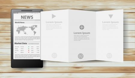 newsletter: Reading newspaper with smart phone, Creative folded paper modern template design  illustration