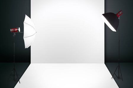 studio photography: photography studio with a light set up and backdrop  Stock Photo