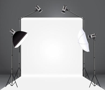 photo equipment: photography studio with a light set up and backdrop, Vector illustration template design