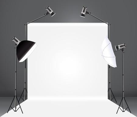 spotlight lamp: studio fotografico con una luce impostare e sullo sfondo, illustrazione vettoriale modello di progettazione