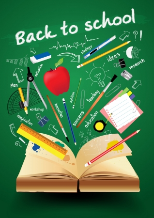 light classroom: Book with back to school creative concept, Vector illustration Modern template Design Illustration