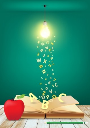 Open book with creative light bulb and falling letters on wood planks, Vector illustration template design Stock Vector - 18809596