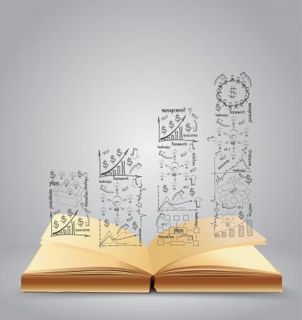 document management: Boek met tekening business strategie planconcept idee, vector illustratie Modern sjabloon Ontwerp Stock Illustratie