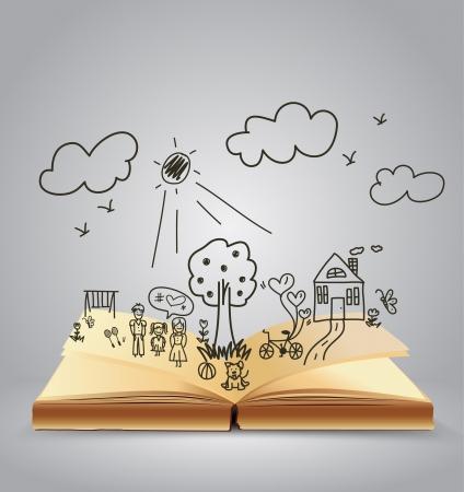 niños escribiendo: Libro de historias de la familia feliz, ilustración vectorial diseño de la plantilla