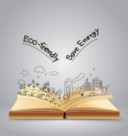 environnement entreprise: Ecologie dessin sympathique concept cr�atif sur le livre ouvert, illustration de vecteur mod�le de conception moderne