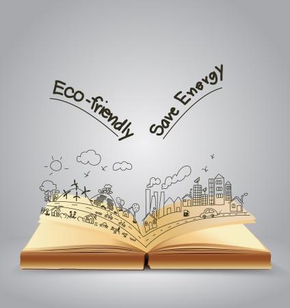 Ecologisch vriendelijke creatief concept tekening op open boek, Vector illustratie Modern template ontwerp Stock Illustratie
