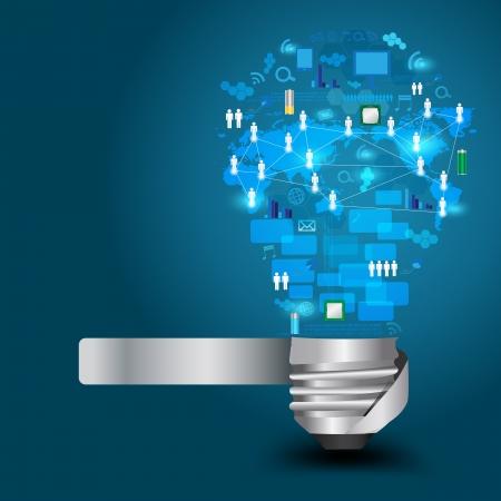 기술 사업 네트워크 프로세스 다이어그램 개념 아이디어, 벡터 일러스트 레이 션의 현대 템플릿 디자인과 창조적 인 전구 일러스트