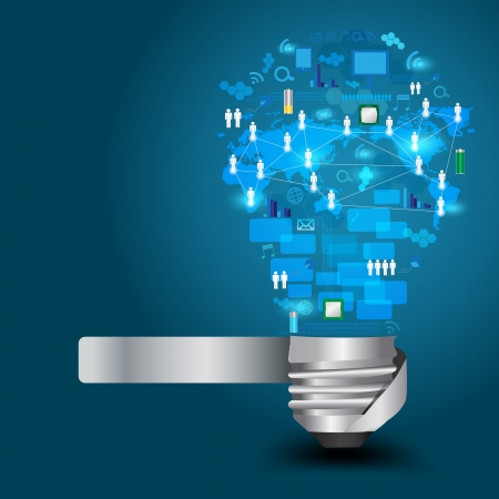 Creatieve gloeilamp met technologie bedrijf Network processchema concept idee, Vector, illustratie, Modern sjabloon Ontwerp