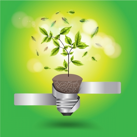 Creative light bulb tree growth concept, Vector illustration template design Stock Vector - 18809582