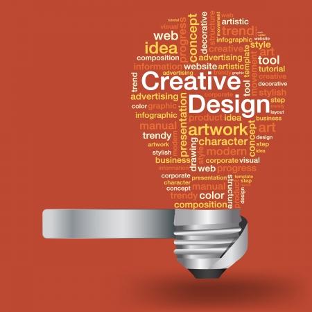 芸術的: 単語雲、ベクトル イラスト現代テンプレート デザインの創造的なデザイン コンセプトで創造的な電球