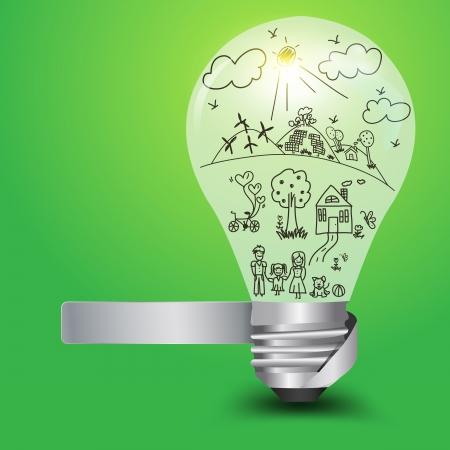 ni�os reciclando: Bombilla creativa con familia feliz y concepto de la ecolog�a, ilustraci�n vectorial dise�o de la plantilla Vectores