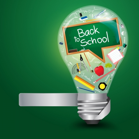 Creative light bulb with back to school concept, Vector illustration template design Stock Vector - 18809589