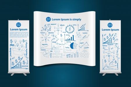 Messestand mit Roll-up Banner Stand Display, mit Zeichnung Diagramm Geschäftsstrategie Raumkonzept Idee, Vektor-Illustration Modernes Template Design