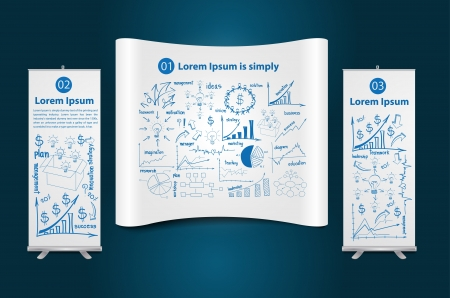 stand display: Trade show booth with roll up banner stand display, with drawing diagram business strategy plan concept idea, Vector illustration Modern template Design Illustration